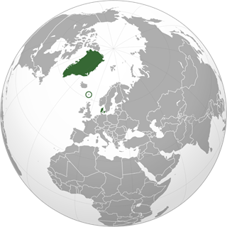 Location of the Kingdom of Denmark (green), including Greenland, the Faroe Islands (circled), and Denmark proper